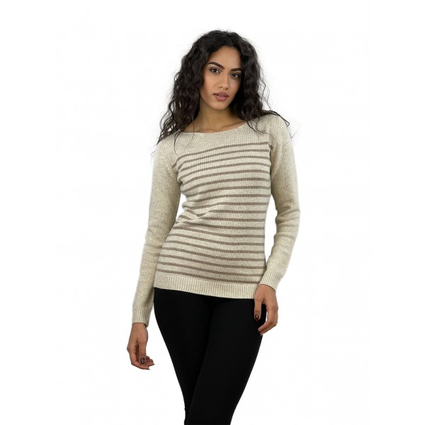 STRIPPED BOAT NECK DOUBLE LINE
