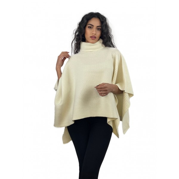 RIBBED PONCHO TURTLE NECK